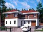 Двухэтажный дом с цоколем, гаражом, террасой и балконом